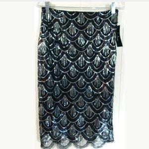 Lulu's Miss Mirage Sequin Pencil Skirt